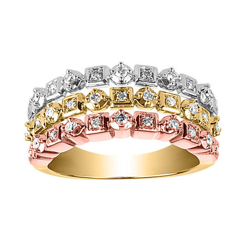 Tri Gold Diamond Ring