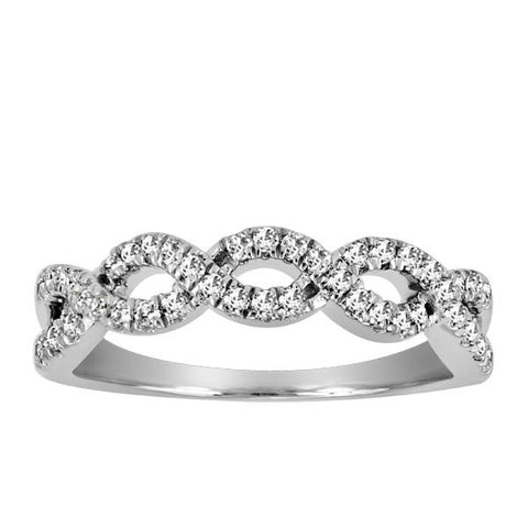 10kt White Gold Round Brilliant Diamond Stackable Band