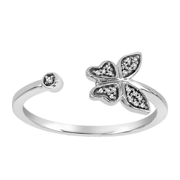 10kt White Gold Round Brilliant Diamond Butter Fly Ring