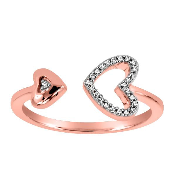 10kt Rose Gold Round Brilliant Diamond Heart Ring