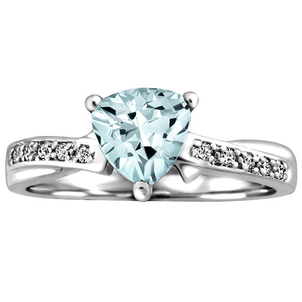 White Gold Diamond and Aquamarine Ring