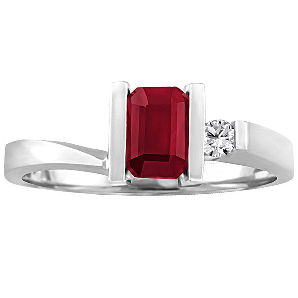 White Gold Diamond And Ruby Ring