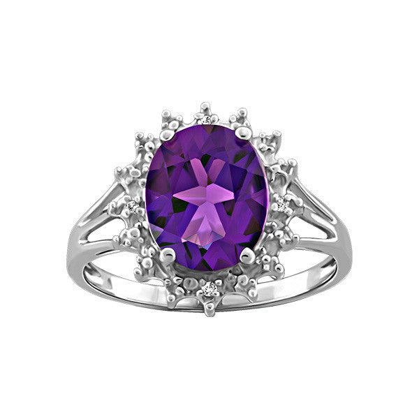 White Gold Diamond and Amethyst Ring