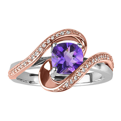 White and Rose Gold Diamond and Amethyst Ring