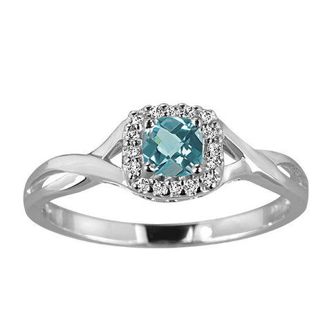 White Gold Diamond & Aquamarine Ring