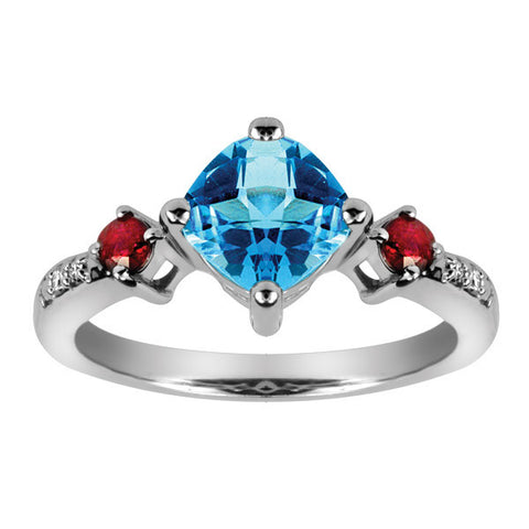 White Gold Diamond Ruby and Blue Topaz Ring