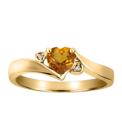 Yellow Gold Diamond and Citrine Ring