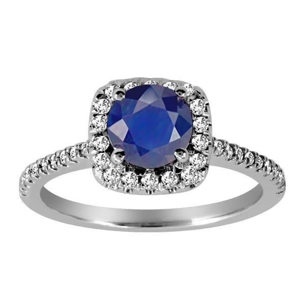 14kt White Gold Diamond Blue Sapphire Ring