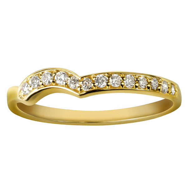 Yellow Gold Round Brilliant Diamond Matching Band Ring