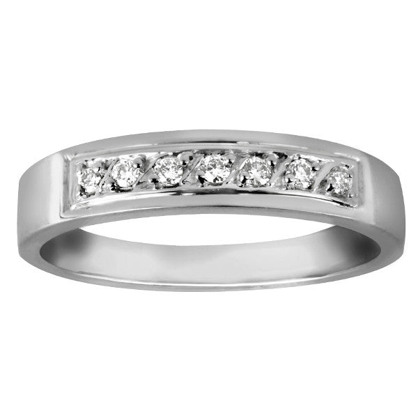 White Gold Round Brilliant Diamond Wedding Band