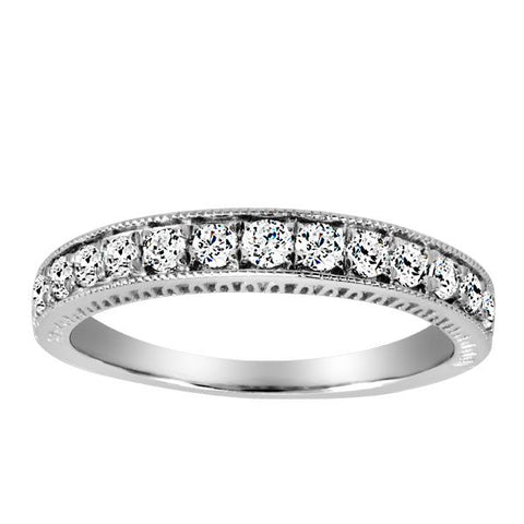 14kt White Gold Round Brilliant Diamond Matching Band