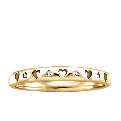 Yellow Gold Diamond Heart Ring