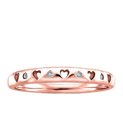Rose Gold Diamond Heart Ring