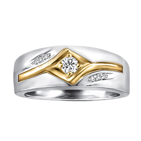 Mens Two Tone Gold Fire of the North Diamond Ring