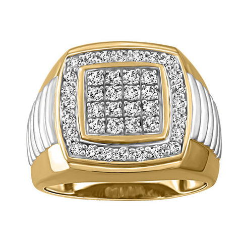 Mens Two Tone Gold Diamond Ring