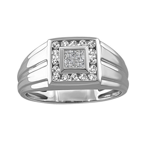 Men's White Gold Diamond Ring