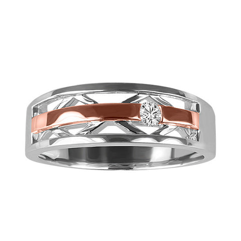 Silver & Rose Gold Diamond Ring