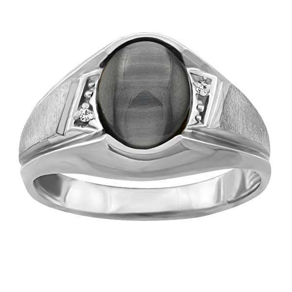 Mens White Gold Diamond And Catseye Ring