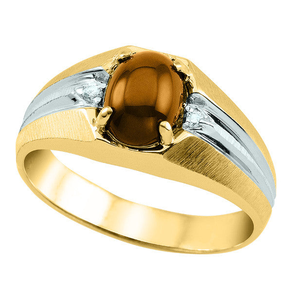 Mens Yellow Gold Diamond and Tigerseye Ring