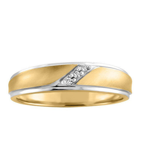 Men's Yellow Gold Diamond Wedding Ring