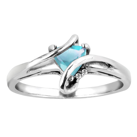 Silver Diamond And Aquamarine Ring