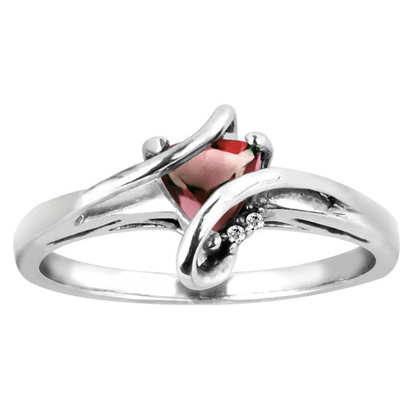 Silver Diamond And Ruby Ring