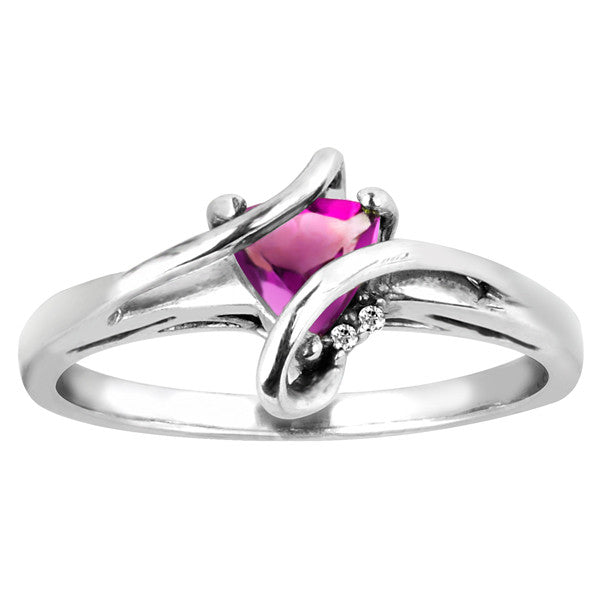 Silver Diamond And Pink Topaz Ring