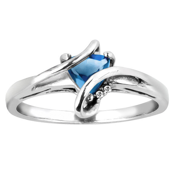 Silver Diamond And Blue Topaz Ring