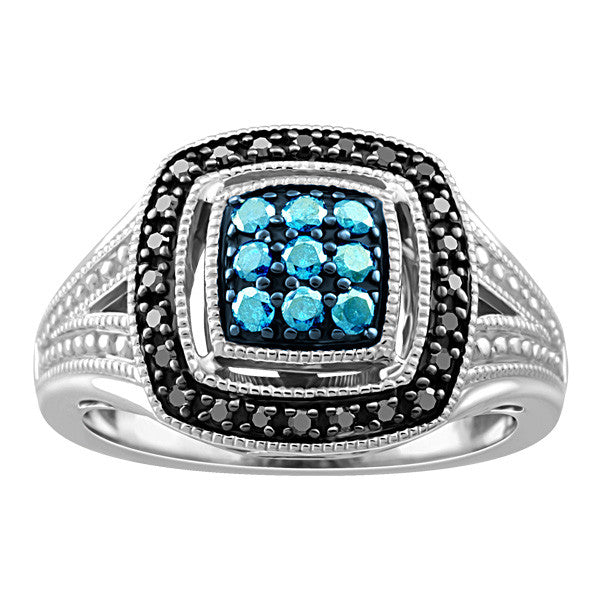Silver Black and Blue Diamond Ring  |  Clearance