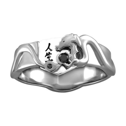 Mens Silver Black Diamond Life Dragon Ring  |  Clearance