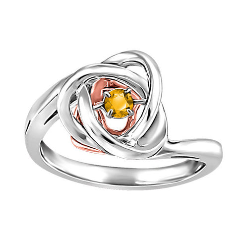 Silver and Rose Gold Citrine Luminance Ring