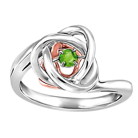 Silver and Rose Gold Peridot Luminance Ring