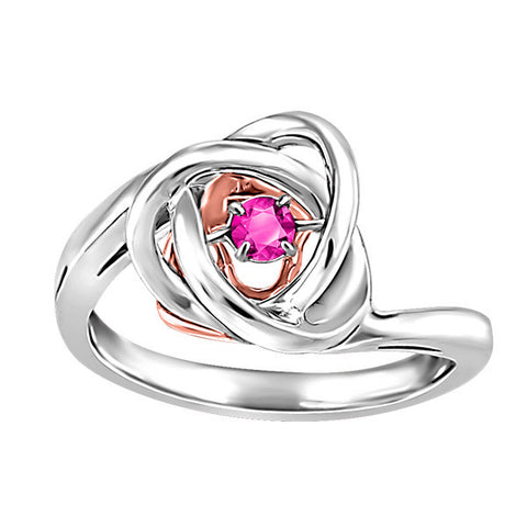Silver and Rose Gold Pink Topaz Luminance Ring