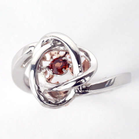 Silver and Rose Gold Garnet Luminance Ring