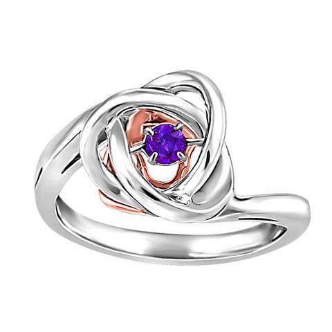 Silver and Rose Gold Amethyst Luminance Ring