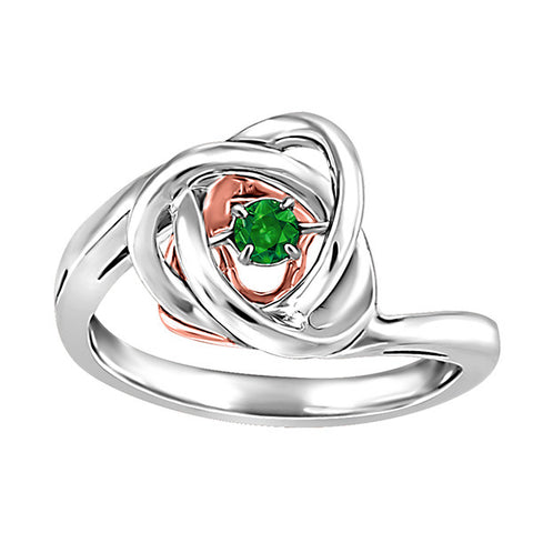 Silver and Rose Gold Emerald Luminance Ring