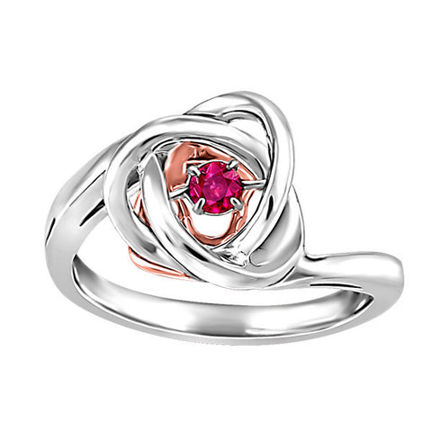 Silver and Rose Gold Rhodolite Luminance Ring