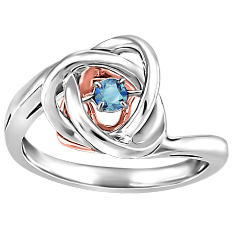 Silver and Rose Gold Blue Topaz Luminance Ring