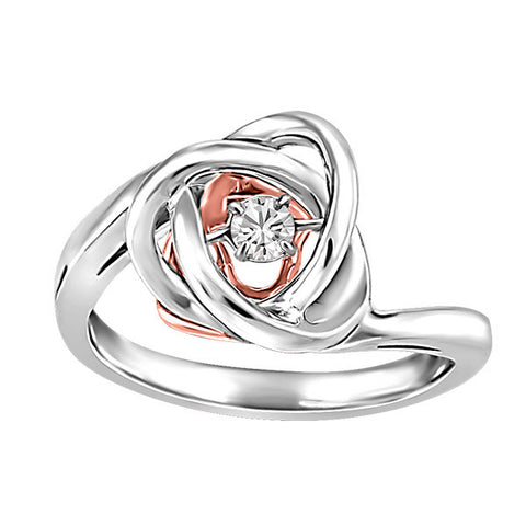 Silver and Rose Gold White Topaz Luminance Ring