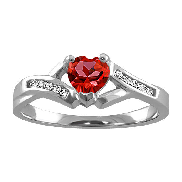 Silver Diamond and Garnet Heart Ring