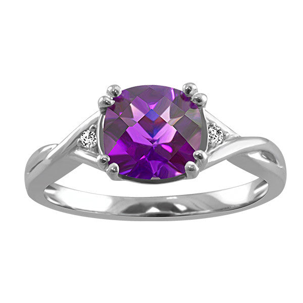 Silver Diamond and Amethyst Ring