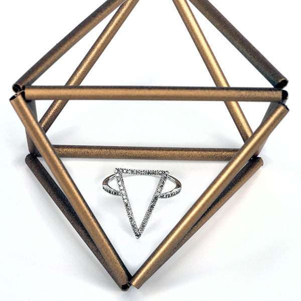 Silver Diamond Geometric Ring