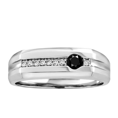 Silver White/Black Round Brilliant Diamond Ring