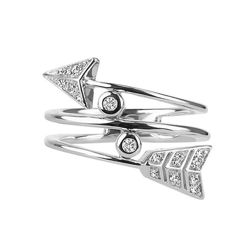 Silver Diamond Arrow Ring
