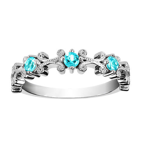 Stackable Silver Blue Topaz Ring