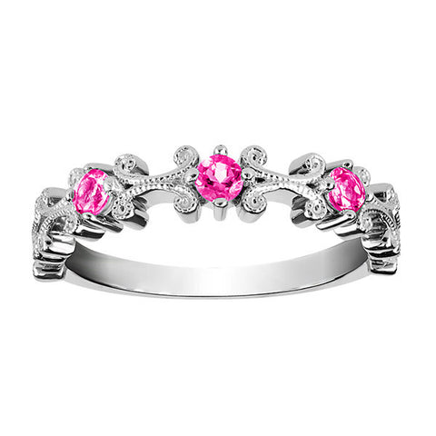 Stackable Silver Pink Topaz Ring