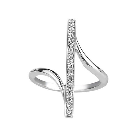 Silver Diamond Bar Ring