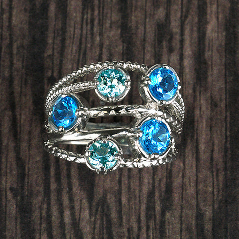 Silver Aquamarine And Blue Topaz Ring