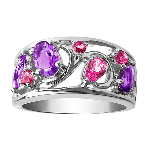 Silver Pink Topaz And Amethyst Ring
