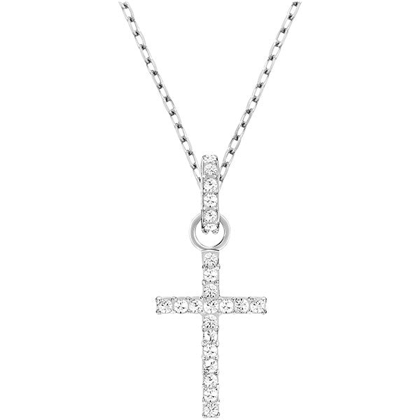 Swarovski Crystal Rhodium Cross Necklace